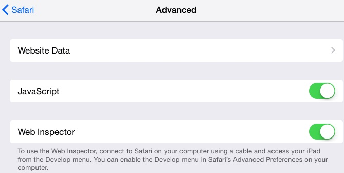 Enable Safari developer mode in iOS settings