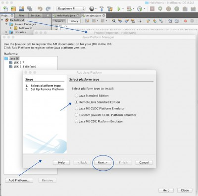 Open Java Platform Manager and add a new Remote Platform